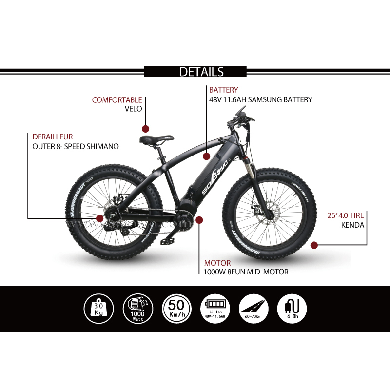 SOBOWO Q7-6-1 750W/1000W Big Power Bafang Mid Drive Motor Best Fat Tire Electric Bicycle